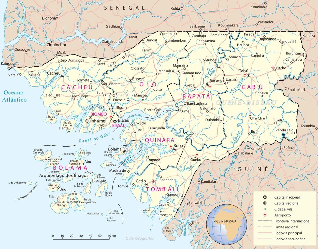 Mapa Guiné-Bissau